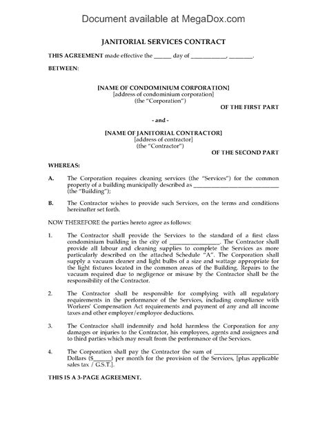 janitorial service contract template cleaning contract for condominium building forms