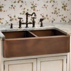 Aberdeen smooth double well farmhouse copper sink traditional kitchen