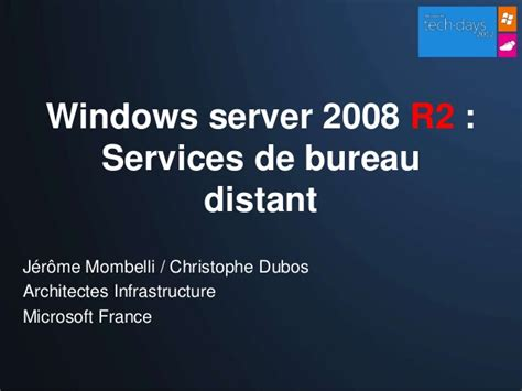 bureau distant windows windows server 2008 r2 services de bureau distant