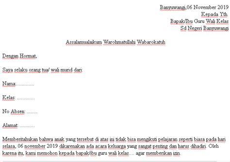 Contoh Surat Izin Wali Murid Bertemuco