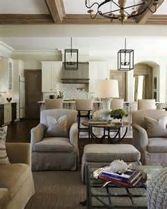 Kitchen And Living Room Spaces End Tables In The Living Room Beyond