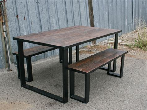 table with benches set vintage industrial bench