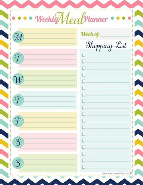 best printable meal planner 25 best ideas about weekly meal planner on pinterest