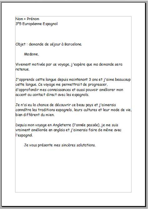 Exemple De Lettre En Vacances Lettre De Motivation En Fran 231 Ais Pour Un Voyage En Espagne Digischool Devoirs