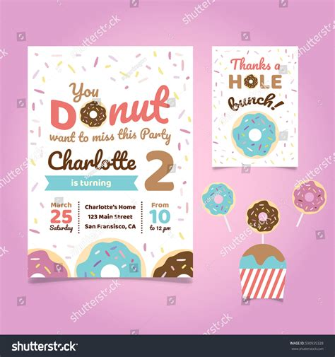 Donut Theme Birthday Invitation Template Stock Vector 590935328 Shutterstock Donut Invitation Template