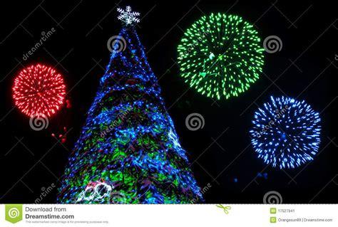 christmas tree and fireworks stock image image 17527941