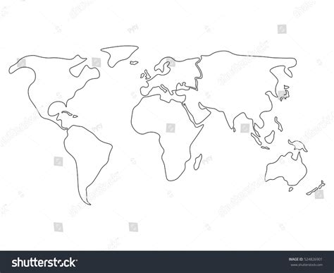 Worlds Collide Europe Africa And America Outline by World Map Divided Six Continents Black Stock Vector 524826901