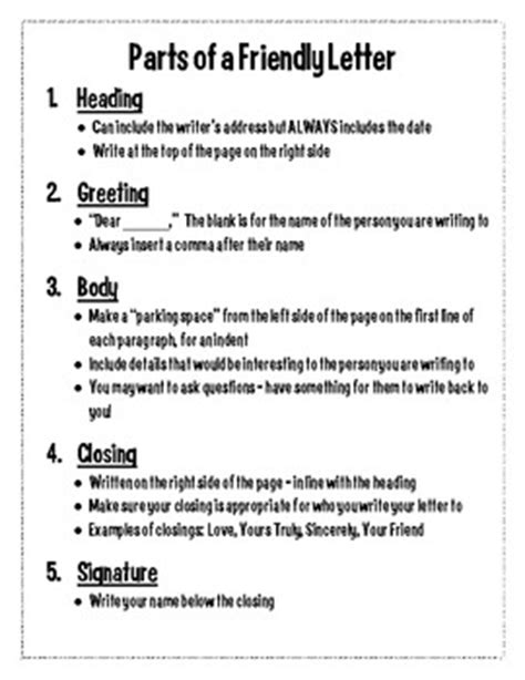 5 Letter College Names This Handout Outlines The 5 Parts Of A Friendly Letter Heading Greeting Closing And