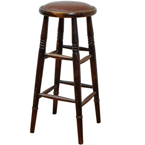 unique stools unique english leather seat pub stool at 1stdibs