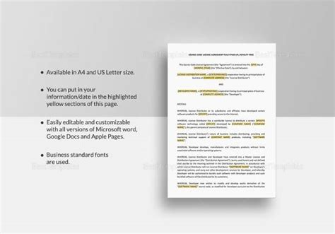 12 License Agreement Templates Download For Free Sle Templates Sourcing Agreement Template