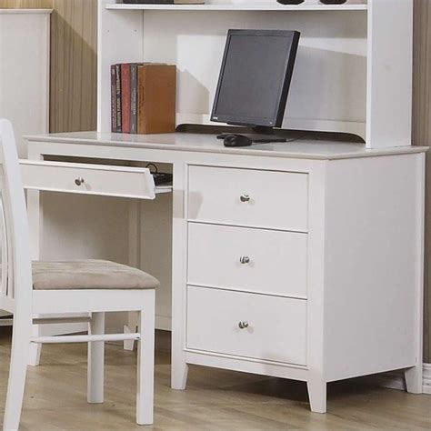 white desk with storage coaster selena computer desk with drawer storage in white 400237