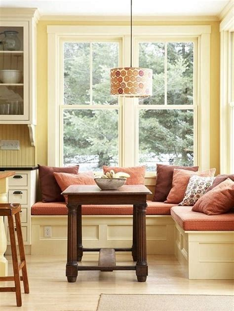 bench seating kitchen nook window seat built into the corner instead of a table