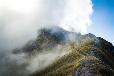 bitcoin fog tutorial fog and mist over the mountain hiking path image free