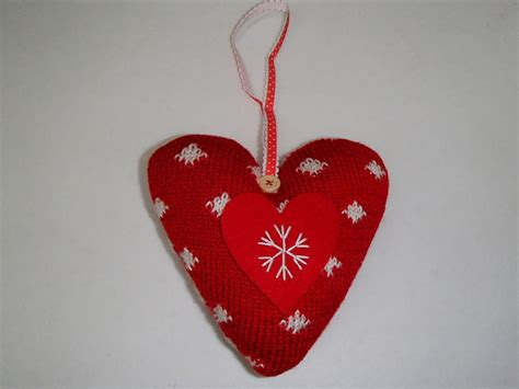scandinavian swedish christmas ornaments knit heart with