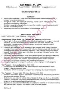 Resume Summary Exles Cfo Resume Sle For A Chief Financial Officer Cfo Susan Ireland Resumes