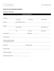 new hire form template fillable new hire form sle template