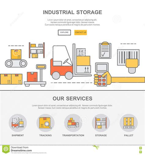 Web Design Template With Thin Line Icons Of Warehouse Stock Stock Vector Illustration Of Code Warehouse Website Template