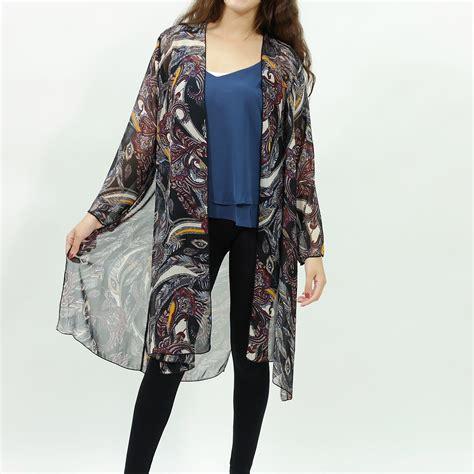Avicii Feather Kimono Outher Feather Inspired Chiffon Kimono Cardigan Black