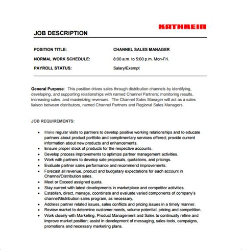 sales manager job description template 11 free word