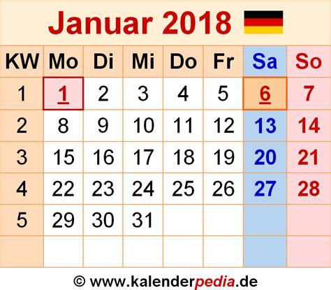 Kalender Januar 2018 Kalender Januar 2018 Als Pdf Vorlagen