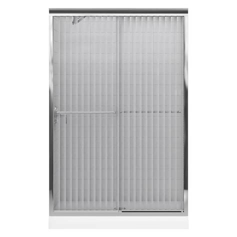 Opaque Shower Doors Kohler Fluence 47 5 8 In X 70 5 16 In Semi Frameless Sliding Shower Door In Silver With Opaque