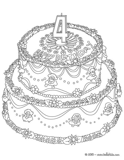 transfer coloring page to cake birthday cake 4 years coloring pages hellokids com