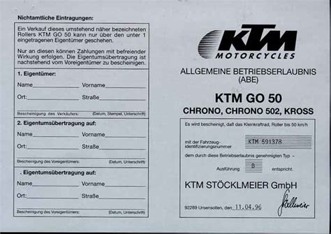 125er Motorrad Fahrzeugbrief by Fahrzeugpapiere