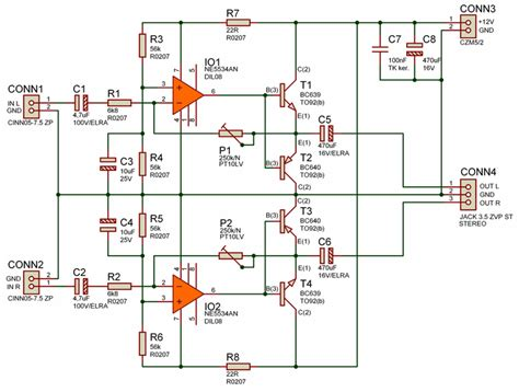 transistor headphone lifier schematic simple quality headphone lifier 12v ne5534an electronics projects circuits