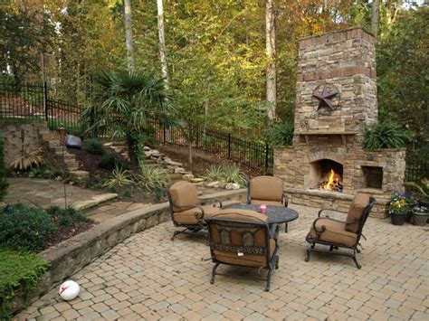 Stone Patio With Fireplace by Outdoor Stone Fireplace And Stone Pathway Traditional