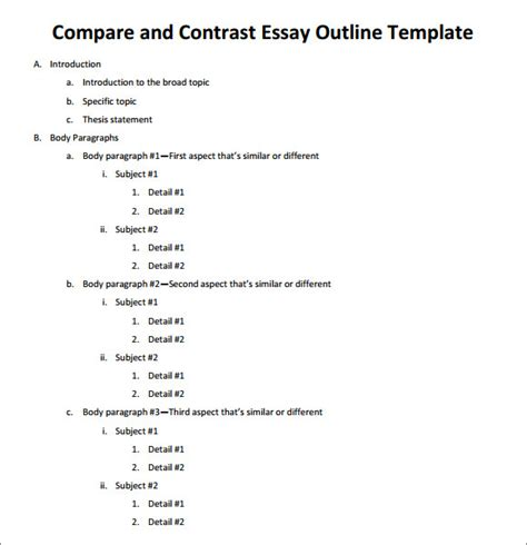 Compare And Contrast Topics For An Essay by Compare Contrast Template Essay