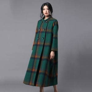 high end collars high end stand collar plaid coat woolen plus size tweed coat morimiss