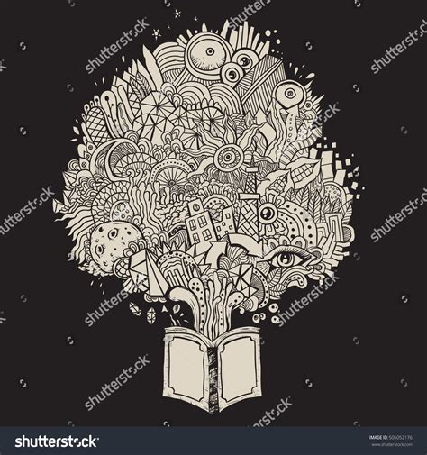doodle and book doodle scribble book knowledge sketch stock vector