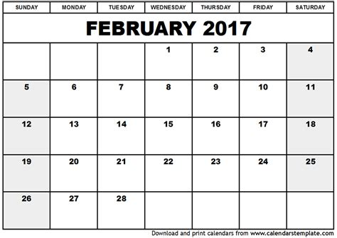 printable calendar by week 2017 february 2017 calendar printable weekly calendar template
