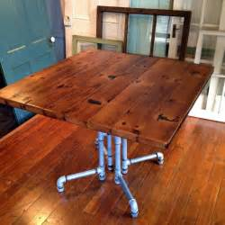 reclaimed wood dining table galvanized pipe base tongue