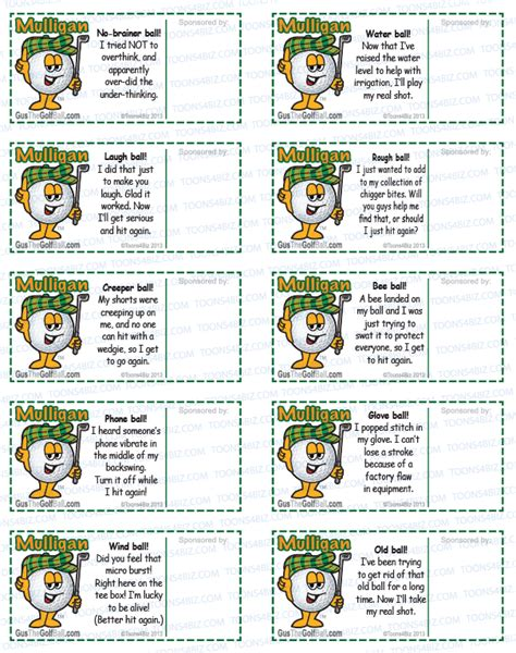 mulligan card template golf mulligan tickets and mulligan coupon templates gus