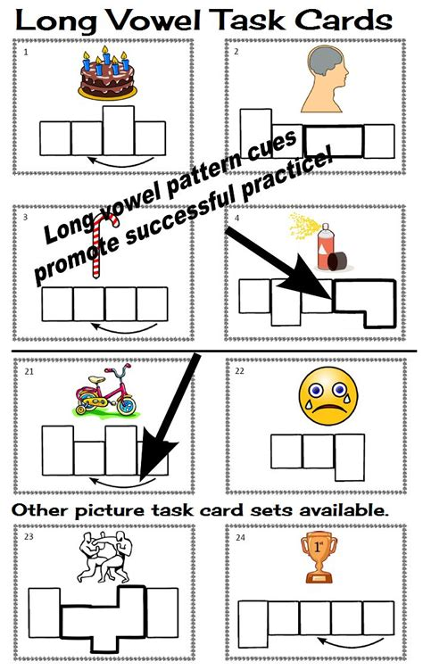 spelling pattern in words with long a sound 120 elkonin sound box phonics task cards 5 long vowel sets