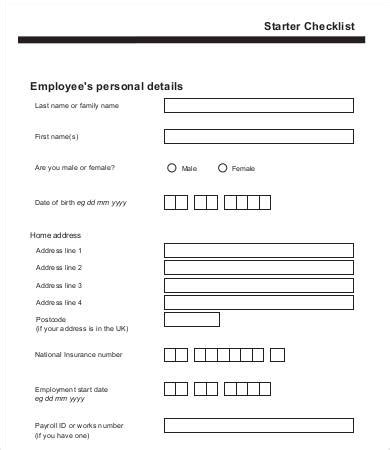 employee starter form template 12 new employee checklist template free sle exle