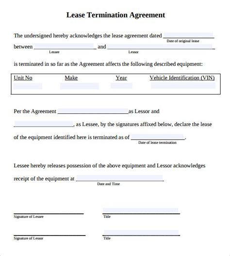 Lease Termination Agreement Exle Sle Lease Termination Agreement Free Documents In Word Pdf