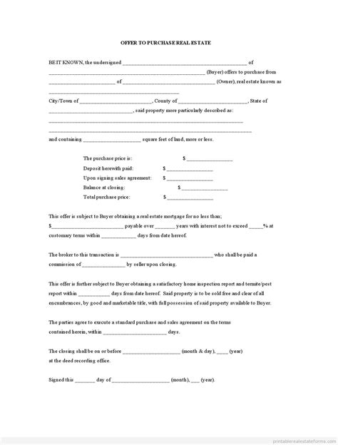 offer to purchase contract template printable offer to purchase real estate template 2015