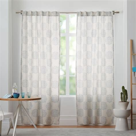 West Elm Medallion Shower Curtain Decor Cotton Canvas Scroll Medallion Curtain Smoke Blue West Elm