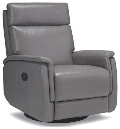 Gray Leather Recliner Chair Stylish Gray Recliner With Swivel Base Contemporary