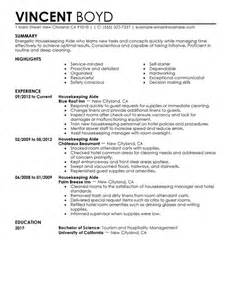 Hospital Housekeeping Resume by Housekeeping Aide Resume Sle My Resume