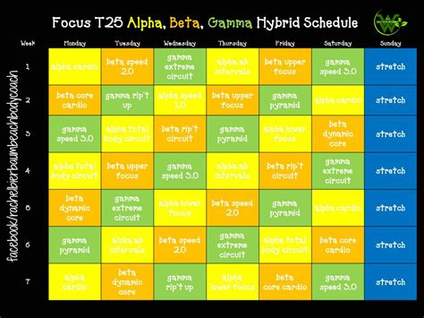 Calendario T25 Alpha Focus T25 Alpha Beta Gamma Hybrid Schedule