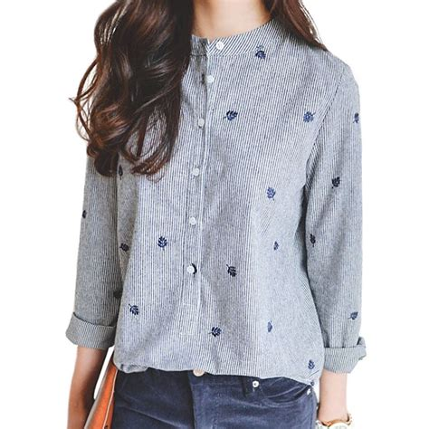 Stripe Embriodery S M L Xl Blouse 31772 leaves embroidery autumn blouses sleeve chic striped shirt cotton office