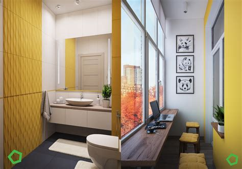 bright bathroom ideas traditional house with open layout interiors with yellow