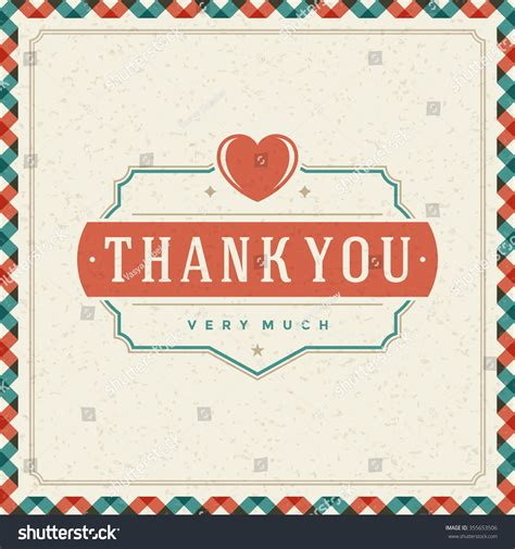 vintage note card template thank you message text vintage greeting stock vector