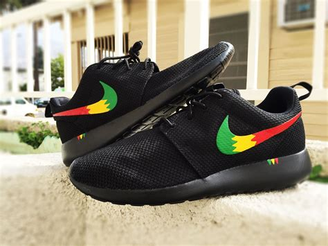 customize nike sneakers custom nike roshe run sneakers rasta design yellow