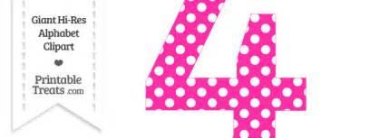 pink polka dot number 4 clipart