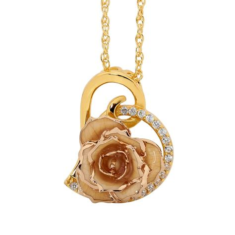 rose themed jewellery white matched set in 24k gold heart theme glazed rose