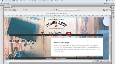 tutorial video sites creating a first website in dreamweaver cc 2015